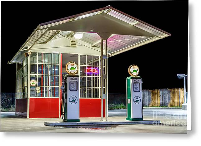 Late Night Gas Station Greeting Card by James Eddy