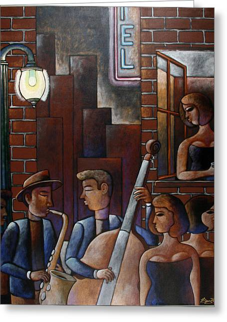 Best Sellers -  - Man Dressed In Black Greeting Cards - Late Night Jazz in New Orleans Greeting Card by Gerry High