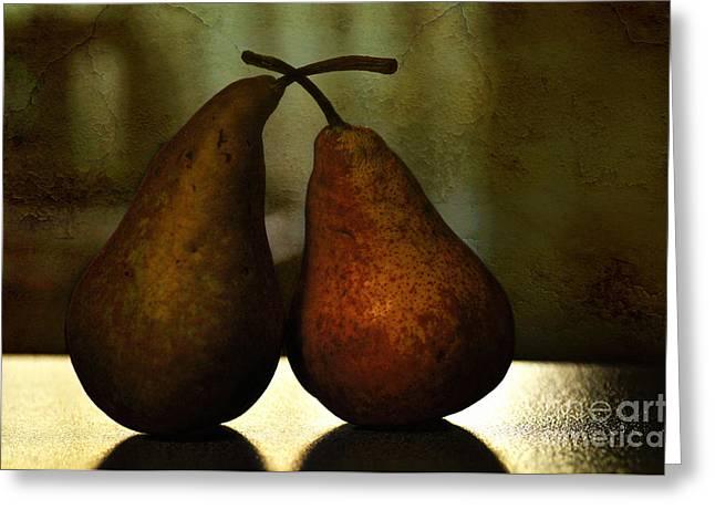 Pear Art Greeting Cards - Late Night Kiss Greeting Card by Kaye Menner