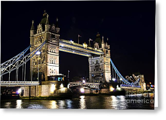 Flag Stone Greeting Cards - Late night Tower Bridge Greeting Card by Elena Elisseeva