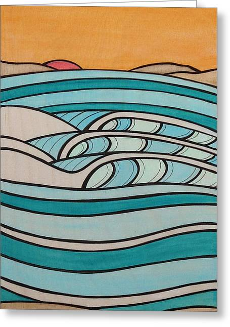 York Beach Mixed Media Greeting Cards - Late Set Greeting Card by Joe Vickers