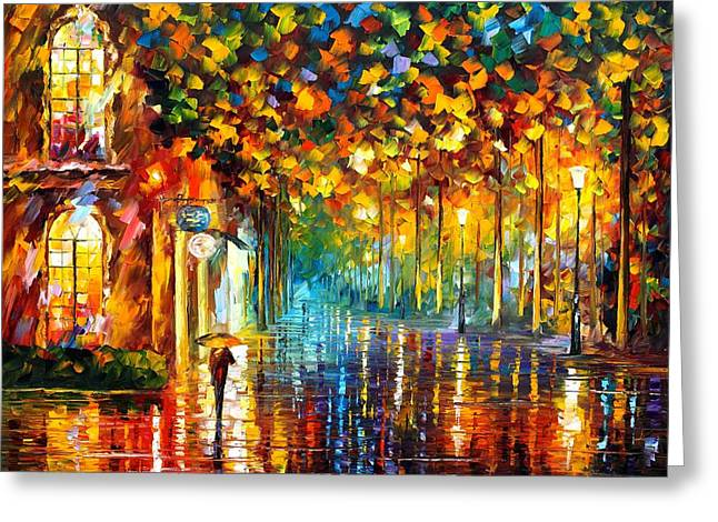 Certificates Greeting Cards - Late Stroll Miami Greeting Card by Leonid Afremov