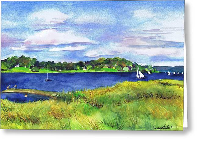 Long Island Paintings Greeting Cards - Late Summer Marsh Oyster Bay Greeting Card by Susan Herbst