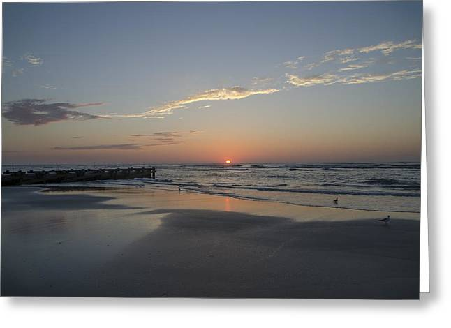 Late-summer Greeting Cards - Late Summer Sunrise - Wildwood New Jersey Greeting Card by Bill Cannon