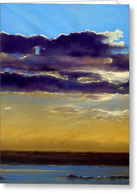 Spectacular Pastels Greeting Cards - Late sunset Greeting Card by Cecile Houel