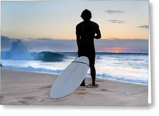Surf Silhouette Greeting Cards - Late Surfer Greeting Card by Sean Davey