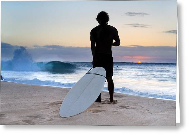 Surfer Print Greeting Cards - Late Surfer Greeting Card by Sean Davey