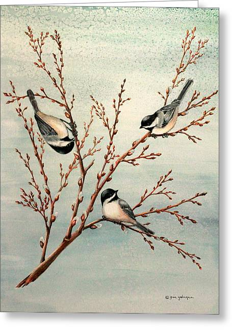 Pussy Mixed Media Greeting Cards - Late Winter Chickadees Greeting Card by Gina Gahagan