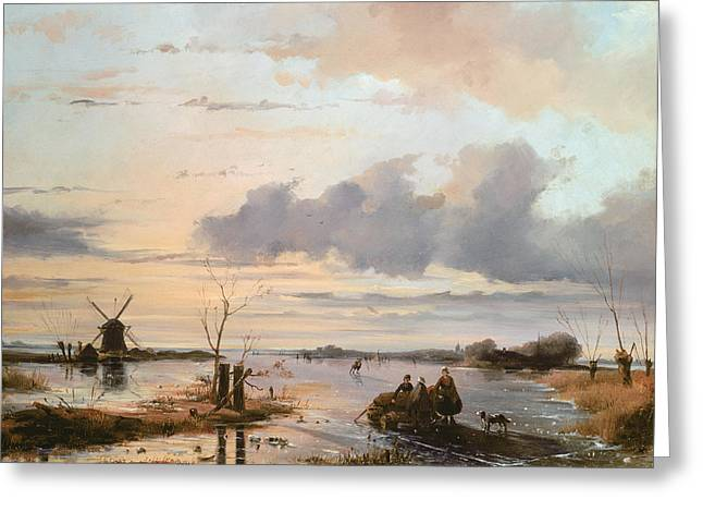 Windmills Greeting Cards - Late Winter in Holland Greeting Card by Nicholas Jan Roosenboom