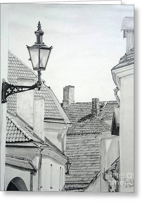 Tallinn Drawings Greeting Cards - Latern Greeting Card by Jackie Mestrom