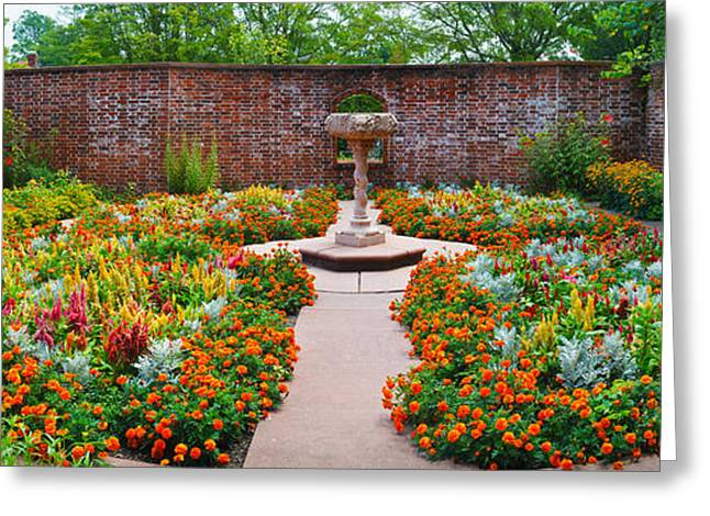Flower Memorial Photography Greeting Cards - Latham Memorial Garden At Tryon Palace Greeting Card by Panoramic Images