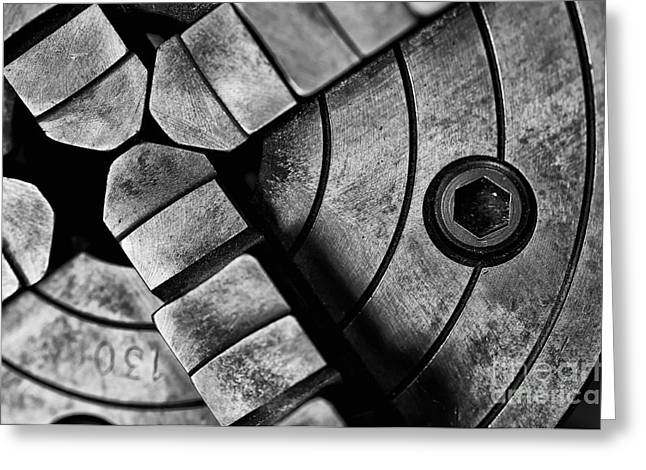 Greasy Greeting Cards - Lathe Chuck Black and White Greeting Card by Wilma  Birdwell