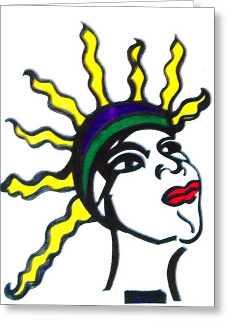 African-american Drawings Greeting Cards - Latifah Greeting Card by Angela Trent