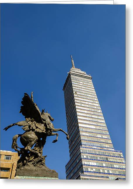 Mexico City Greeting Cards - Latin American Tower and Statue Greeting Card by Jess Kraft