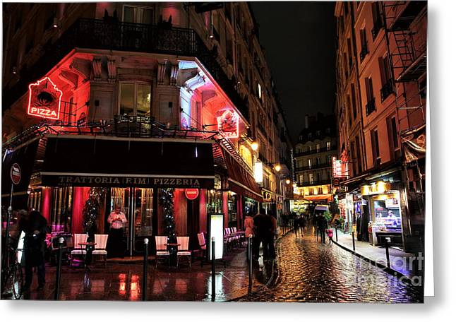 Trattoria Greeting Cards - Latin Quarter Pizza Greeting Card by John Rizzuto