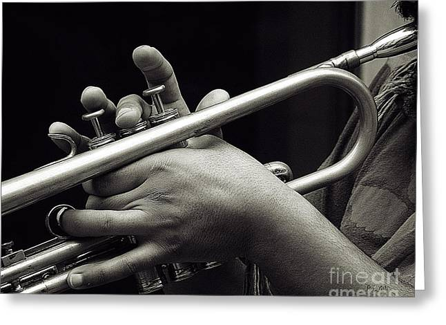 Playing Musical Instruments Greeting Cards - Latin Trumpet Greeting Card by Pedro L Gili