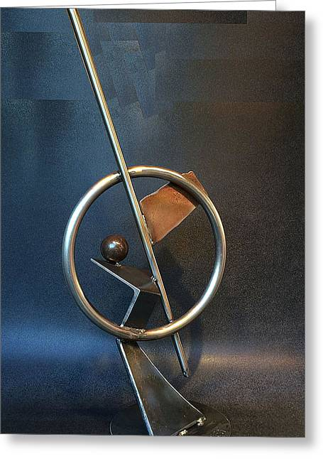 Recycled Sculptures Sculptures Greeting Cards - Latitude Greeting Card by Jeff Owen