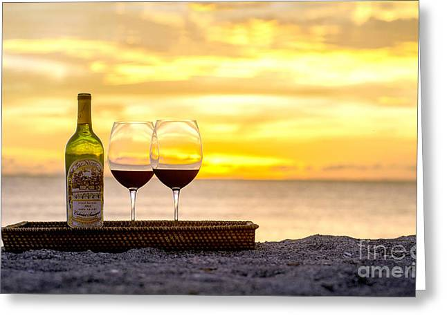 Red Wine Bottle Greeting Cards - Latitudes Greeting Card by Jon Neidert