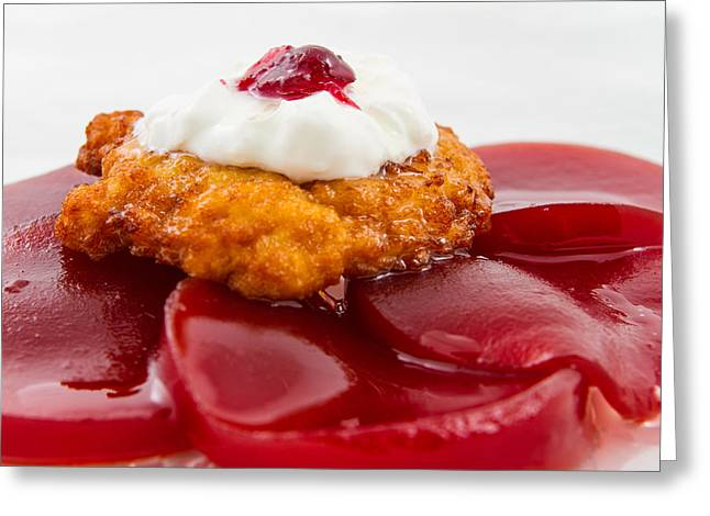 Hanukah Greeting Cards - Latke on Jellied Cranberry Sauce Greeting Card by Mason Resnick