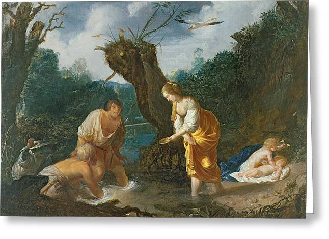 Greek Myths Greeting Cards - Latona Transforming The Peasants Greeting Card by Johann Hulsman