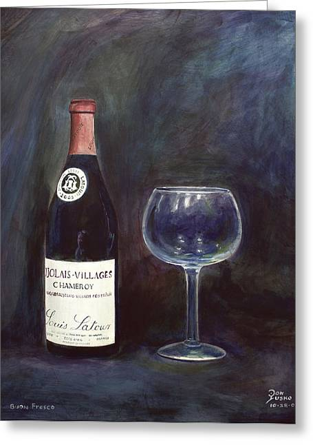 Buon Greeting Cards - Latour Wine Buon Fresco 3 Primary Pigments Greeting Card by Don Jusko