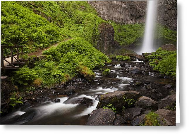Rock Spring Trail Greeting Cards - Latourell Falls and Rapids Greeting Card by Andrew Soundarajan