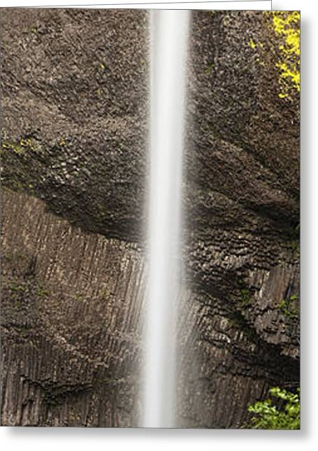 Waterfall Greeting Cards - Latourell Falls Panorama Greeting Card by Andrew Soundarajan