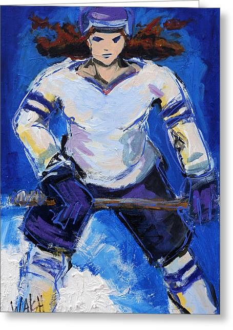 Hockey Paintings Greeting Cards - Lattaquante Greeting Card by Marie Walsh