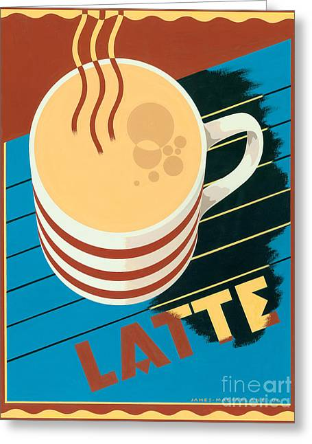 Pouring Digital Art Greeting Cards - Latte Greeting Card by Brian James