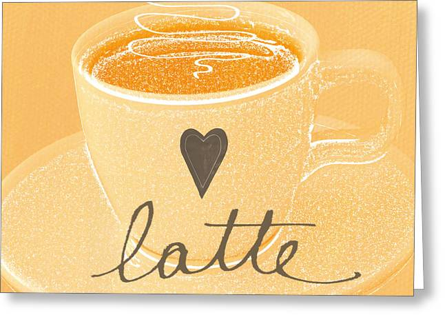 Homes Greeting Cards - Latte Love in orange and white Greeting Card by Linda Woods
