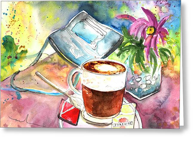 Greve In Chianti Drawings Greeting Cards - Latte Macchiato in Italy 01 Greeting Card by Miki De Goodaboom
