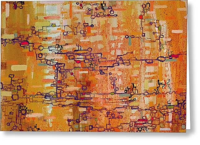 Lattice Animals Abstract Oil Painting By Regina Valluzzi Greeting Card by Regina Valluzzi
