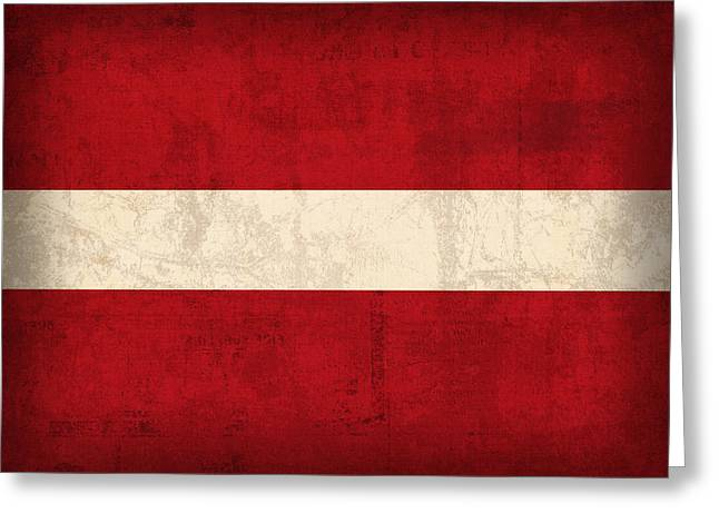 Latvia Flag Vintage Distressed Finish Greeting Card by Design Turnpike