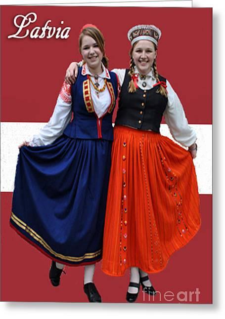 Lady Washington Greeting Cards - Latvia Girls Greeting Card by Jost Houk