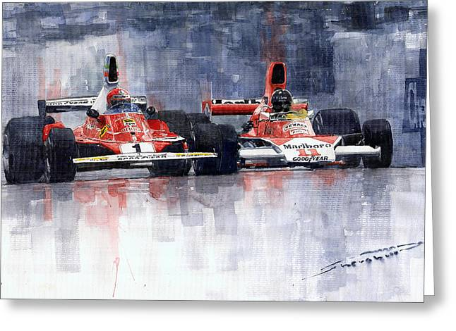 Watercolor Greeting Cards - Lauda vs Hunt Long Beach US GP 1976  Greeting Card by Yuriy Shevchuk