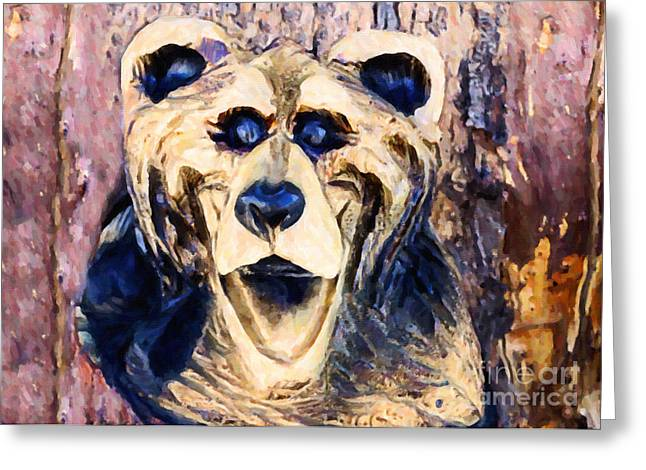 Wooden Sculpture Greeting Cards - Laughing Bear Greeting Card by Janice Rae Pariza