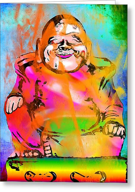 Statue Portrait Paintings Greeting Cards - Laughing Buddha Greeting Card by Daniel Janda