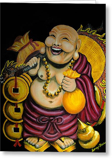 Laughing Buddha For Prosperity Greeting Card by Saranya Haridasan