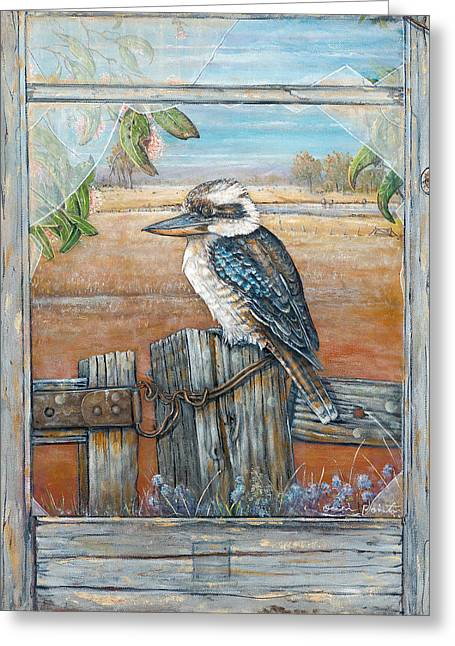 Old Fence Posts Paintings Greeting Cards - Laughing Kookaburra Greeting Card by Owen Pointon