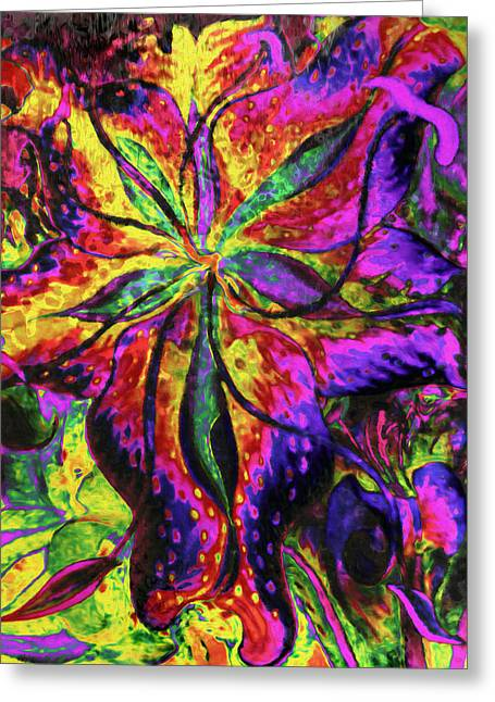 Lyrical Greeting Cards - Laughing Lily Abstract Expressionism Greeting Card by Georgiana Romanovna
