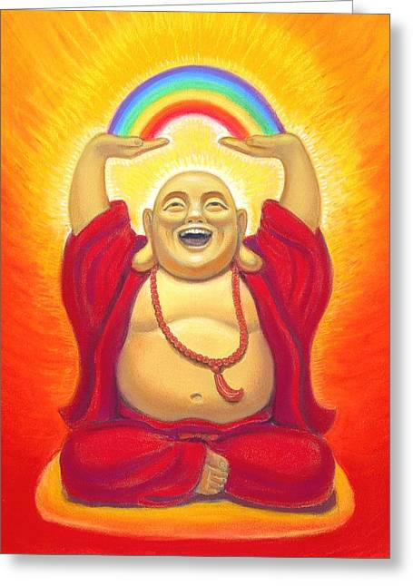 Fat Greeting Cards - Laughing Rainbow Buddha Greeting Card by Sue Halstenberg