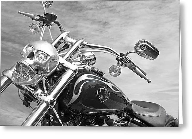 Bike Trip Greeting Cards - Laughing Skull Black and White Greeting Card by Gill Billington