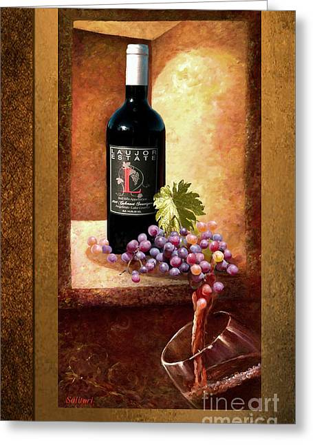 Pouring Wine Mixed Media Greeting Cards - LaujorWine Greeting Card by Gail Salituri