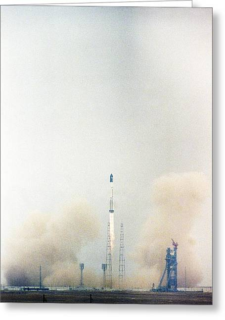 Launch Of The Zarya Module For Iss Greeting Card by Science Photo Library