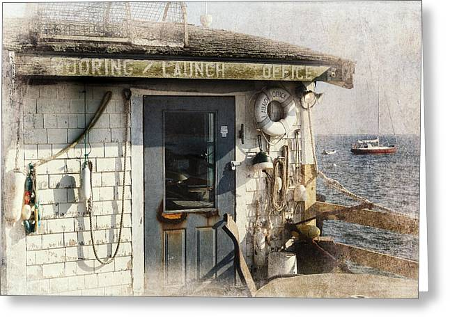 Ptown Greeting Cards - Launch Office McMillian Wharf Provincetown Greeting Card by Bill  Wakeley