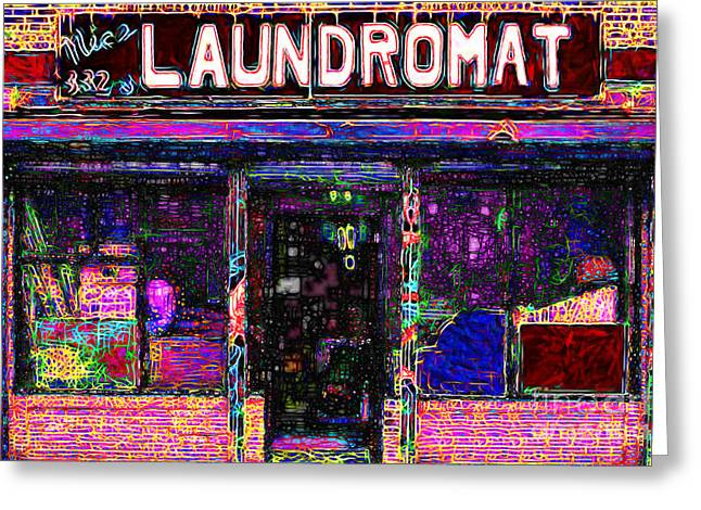 Mundane Greeting Cards - Laundromat 20130731 Greeting Card by Wingsdomain Art and Photography