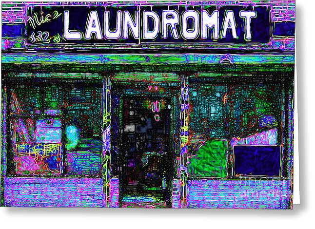 Mundane Greeting Cards - Laundromat 20130731m108 Greeting Card by Wingsdomain Art and Photography