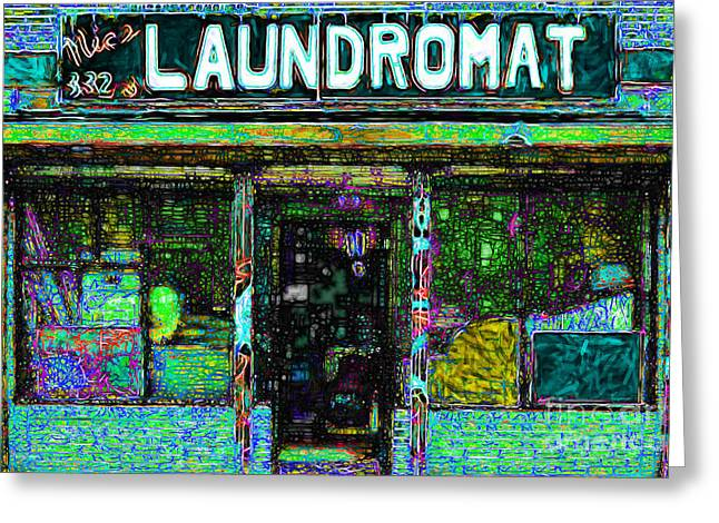 Mundane Greeting Cards - Laundromat 20130731p180 Greeting Card by Wingsdomain Art and Photography