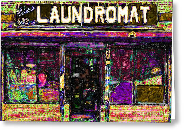 Mundane Greeting Cards - Laundromat 20130731p45 Greeting Card by Wingsdomain Art and Photography