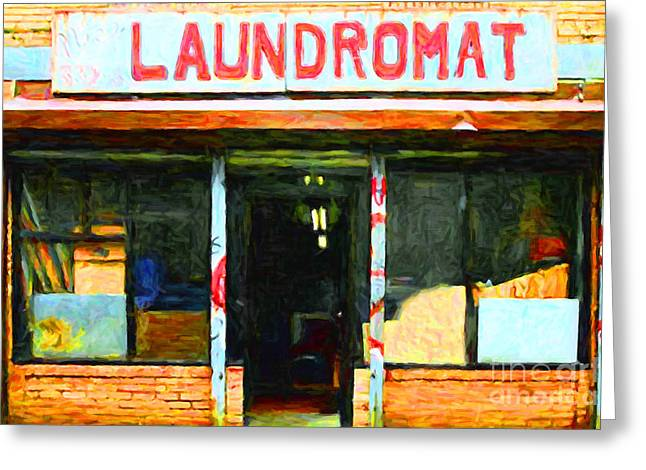 Mundane Greeting Cards - Laundromat 20130731pop Greeting Card by Wingsdomain Art and Photography